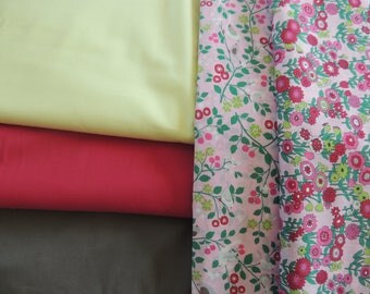 Cotton fabric plain yellow straw/Green