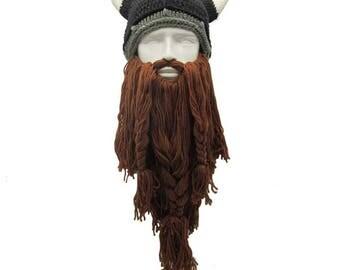 Funny Man Vikings Beanies Knit Hats Beard Ox Horn Handmade Knitted   Men's Winter Hats Warm Caps Women Gift Party Mask Cosplay Cap