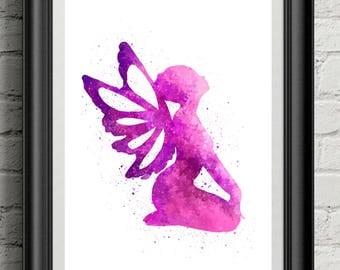 Purple Fairy Watercolor Art Print, Digital Download, Wall Art, Home Decor, Girls Room Decor.
