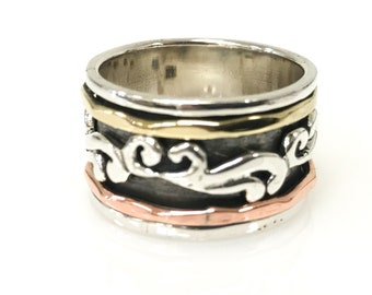 Spinning Ring Sterling Silver Base, Brass/Copper/Detailed Silver Spinners