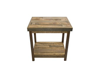 Reclaimed Wood End Table from Recycled Wyoming Snow Fence - Traditional Pattern