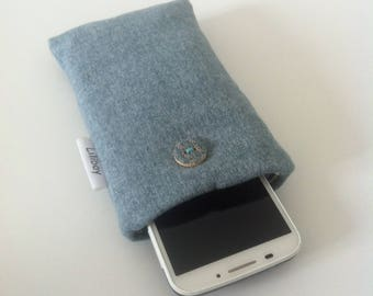 """étui portable ou lunettes """"Lainage bleu-vert"""" en lainage"""