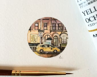 Watercolor & Gouache Miniature Painting - New York City (MacDougal Street)