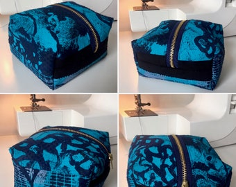 One-Off Unique Handmade Blue Zipped and Lined Make-Up Bag with Abstract Original Acrylic Hand Screen-Print