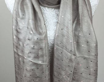 Sequin and Shimmer Scarf - Beige
