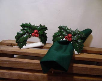 Holly Napkin Rings set of 2