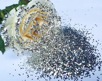 SILVER Super Chunky Biodegradable Glitter - Eco Friendly Sustainable Glitter - Bio Glitter - Enviro Glitter - Cosmetic Grade - 1000 microns