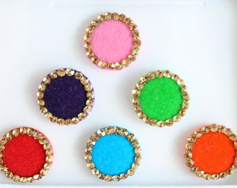 Round Colored Bindis ,Round Bindis,Velvet Colorful Bindis,Multicolor Face Jewels Bindis,Bollywood Bindis,Self Adhesive Stickers Pack