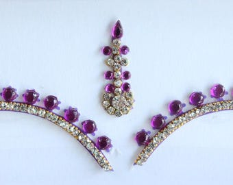 Purple Bridal Forehead Bindi Stickers,Wedding Long Bindis,Bridal Purple Bindis,Bollywood Bindi, Long Purple Bindis, Self Adhesive Stickers