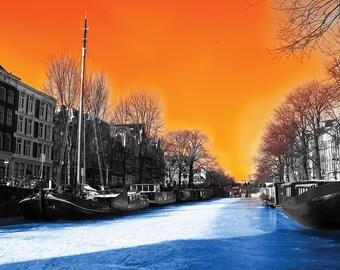Brouwersgracht in orange & blue