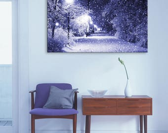 Snow Storm Canvas Print, Snow Storm Canvas Art, Snow Storm Canvas Wall Art, Snow Storm LED Flashing Canvas Print