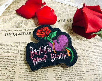 bad girls wear black patch/iron on patch/embroidered patch/feminism patch /cool patch/girl patch/DIY
