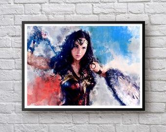 Wonder Woman Poster, Wonder Woman Gal Gadot Print, Wonder Woman Justice League, DC, Movie Poster, Watercolor Art Print, Kids Room Wall Decor