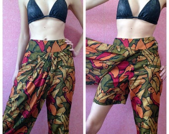 funny beach shorts/capris with parrots print by Marc Cain