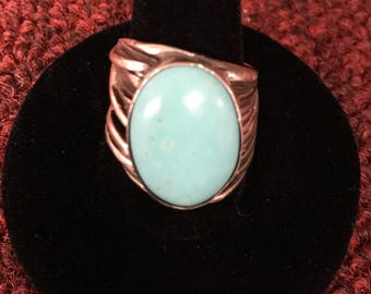Vintage sterling silver turquoise ring sz 7