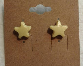 Pastel Yellow Star Earrings