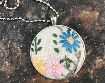 vintage embroidered pendant on ball chain