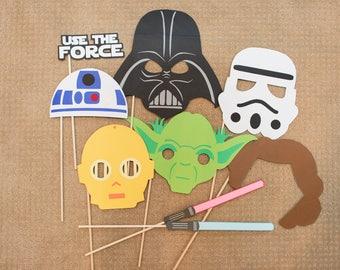 Star Wars Masks | Photo Booth Props | Darth Vader | Storm Trooper | Yoda | R2-D2 | C-3PO