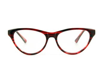 Stunning contemporary, sophistiCATed cat eye glasses.Hand made, flexible, lightweight and sexily serious 'AUDREY' Fiery Sunset Red