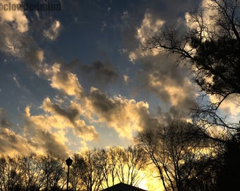 Golden sunset photograph. 12x18 cloud photograph. Cloud photography. Nature photography. Sunset photography. Clouds and sky.