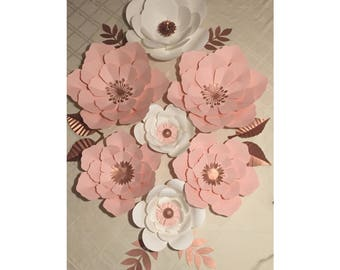 7pc Blush Pink and White Giant Paper Flower Backdrop