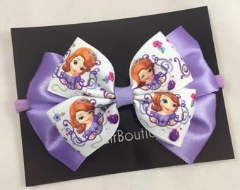 Sofia the First hair bow | Princess Sofia bow, Sofia the First hair clip, Sofia the First birthday, Sofia the First party