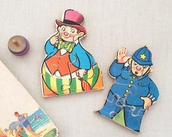 Vintage Noddy Wood Childrens Puzzle - vintage toy - Mr Plod & Roly Poly Man - Vintage childrens room decor - enid blyton kids 1960s #0248
