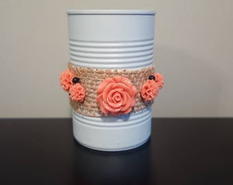 Upcycled tin can with burlap and plastic flowers