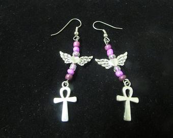 Cross and wings beaded earrings purple