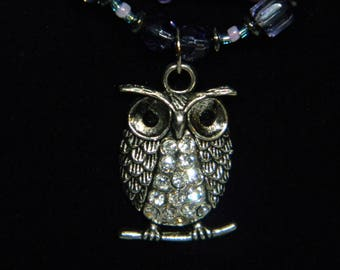 Three-tiered bead necklace with owl pendant