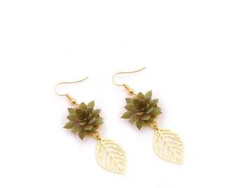 Boucles d'Oreilles Dianelys : pendants végétaux, parure de mariage, baptême, soirée événementielle, laiton et mini plantes grasses