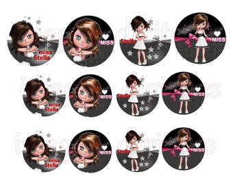 digital images 50mm and 60mm for mirrors or other print miss Stella forever