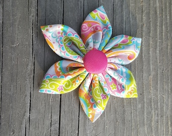 Neon Paisley Fabric Bow