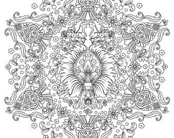 Hidden Flower Mandala - Adult Coloring Page