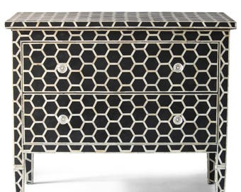 Camel Bone Inlay Chest Of 2 Drawer Honeycomb Design Black