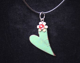 Enameled Heart Charm Pendant Necklace
