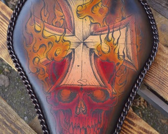 Custom Handmade Bobber Seat *Flame/Cross* 100% uniquely tattoed