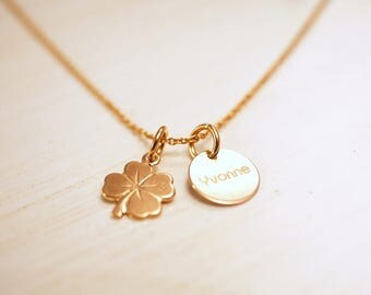 Name chain ~ lucky clover ~ 925 Silver ~ Rosé