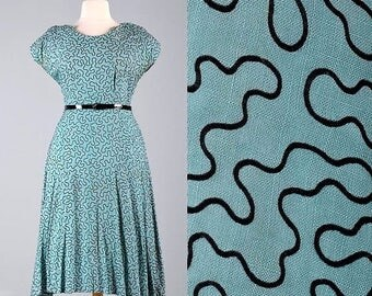 SALE Plus Size 50s Dress Pinup Dress Vintage Flocked Dress Soutache Atomic Dress Summer Dress Day Dress Casual Dress Plus Size XXL 2XL