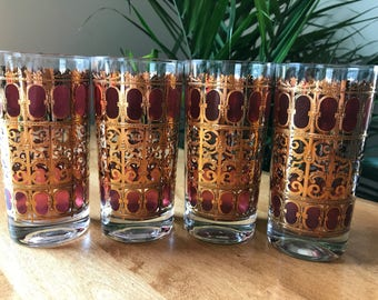 RARE Mid Century Culver Glassware, Cranberry Scroll Highball Glasses set of 4    22k Gold