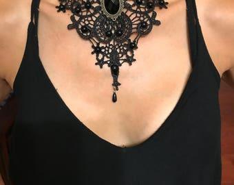 Black Lace Gothic Lolita Retro Pendant Choker Necklace