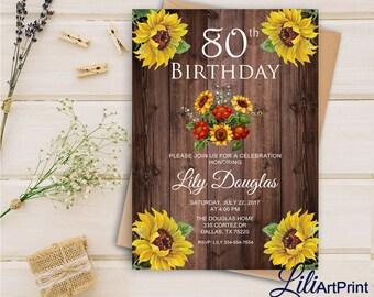 80th Birthday Invitation, Floral Women Birthday Invitation, Any Age Birthday Invite, Sunflower Invitation, Digital file, 2