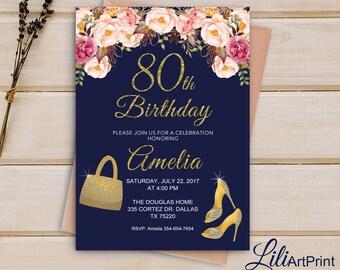 Brilliants 80th birthday invitation, Floral birthday invitation,  Any Age Birthday invite, Brilliants birthday invitation Digital file30