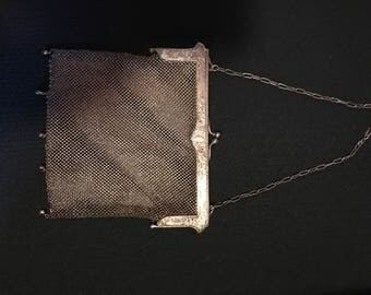 Art Deco 1920's German Silver Mesh Purse With Chain Strap