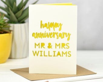 Wedding Anniversary Card - Personalised Anniversary Card - Happy Anniversary - Laser Cut Card - Anniversary - Couples Card - Paper Cut