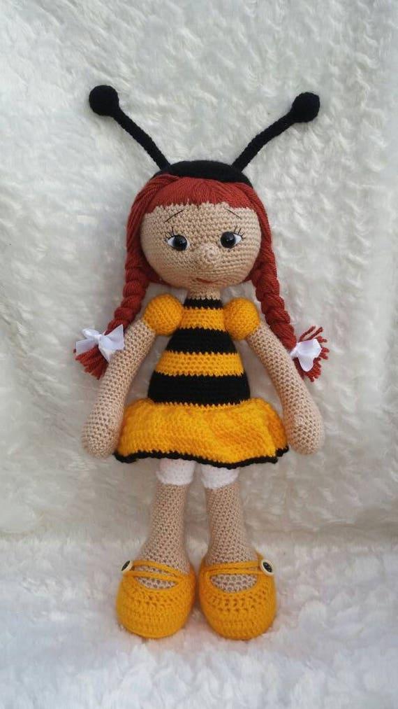 Amigurumi Bee Girl : Crochet doll amigurumi girl present decoration ragg doll bee