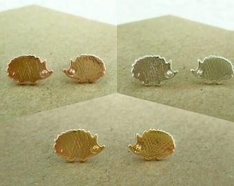 Hedgehog Stud Earrings, Silver Hedgehog Studs, Rose Gold Plated Hedgehog Earrings, Hedgehog Earrings, Small Hedgehog Stud Earrings