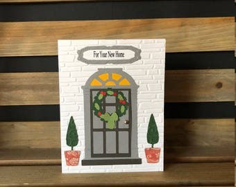 New Home Card Blessing, White Brick Embossed Background, Die Cut Door with Wreath, Topiary Trees