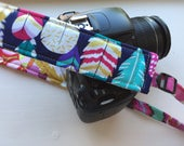 "Ready to Ship Padded Camera Strap for DSLR Digital Canon Rebel Cotton 1.5"" Slim Profile Adjustable Replacement Patchwork OOAK #210"