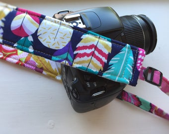 """Ready to Ship Padded Camera Strap for DSLR Digital Canon Rebel Cotton 1.5"""" Slim Profile Adjustable Replacement Patchwork OOAK #210"""